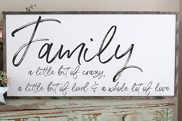 Amazon.com: Family A Little Bit of Crazy Wall Art/Hand Painted Sign ...