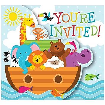 16 Teiliges Einladungskarten Set * ARCHE NOAH * Für Den Kindergeburtstag  Und Motto