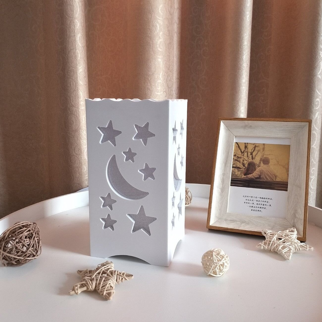 Kids Night Light Table Light White Art Light with Moon and Star Shaped Carving, Desk Lamp Night Light for Nursery,Bedroom(Star) by Dengbaba (Image #4)
