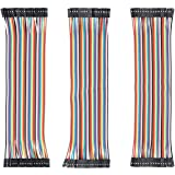 120pcs Multicolored Dupont Wire 40pin Male to Female, 40pin Male to Male, 40pin Female to Female for Breadboard/Arduino Based/DIY/Robot Ribbon Cables Ki