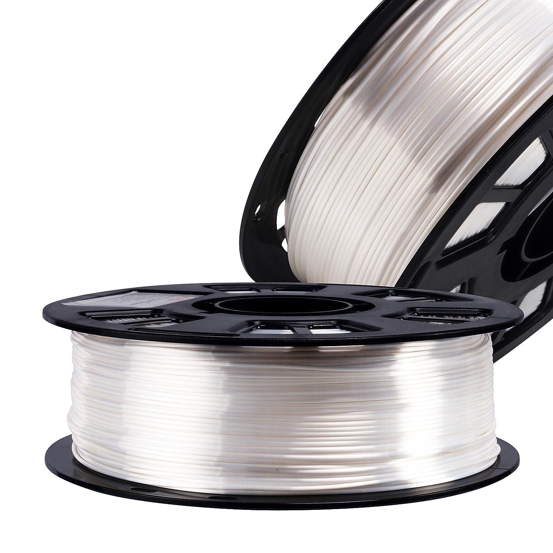 Silk Pearl White PLA Satin Shiny 3D Printer Filament, 1.75mm Diameter 1kg/Spool 2.2lbs for FDM 3D Printers