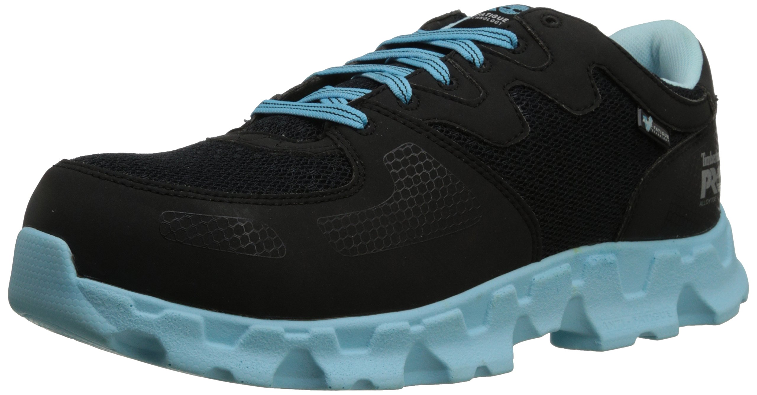 Timberland PRO Women's Powertrain Alloy Toe ESD W Industrial Shoe,Black/Blue Microfiber And Textile,5.5 W US