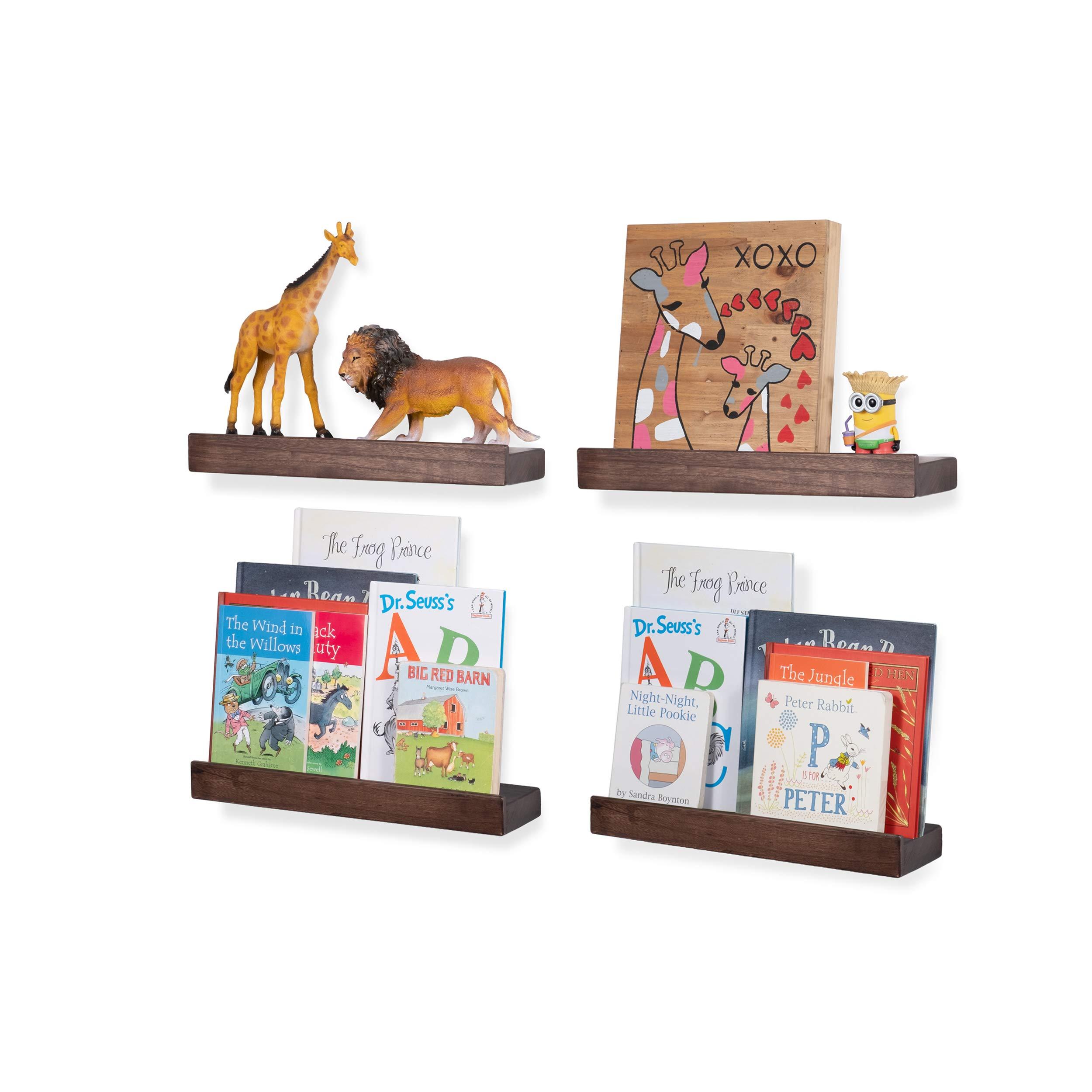 CDM product Rustic State Smith Wood Baby Nursery Kids Room Bookshelf | 16.60 Inch Farmhouse Decor Picture Ledge Shelves Display Walnut Set of 4 big image