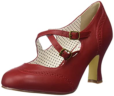 c4552f4a9cd4 Pin Up Couture Women s Flap35 rpu Dress Pump Red Faux Leather 6 ...