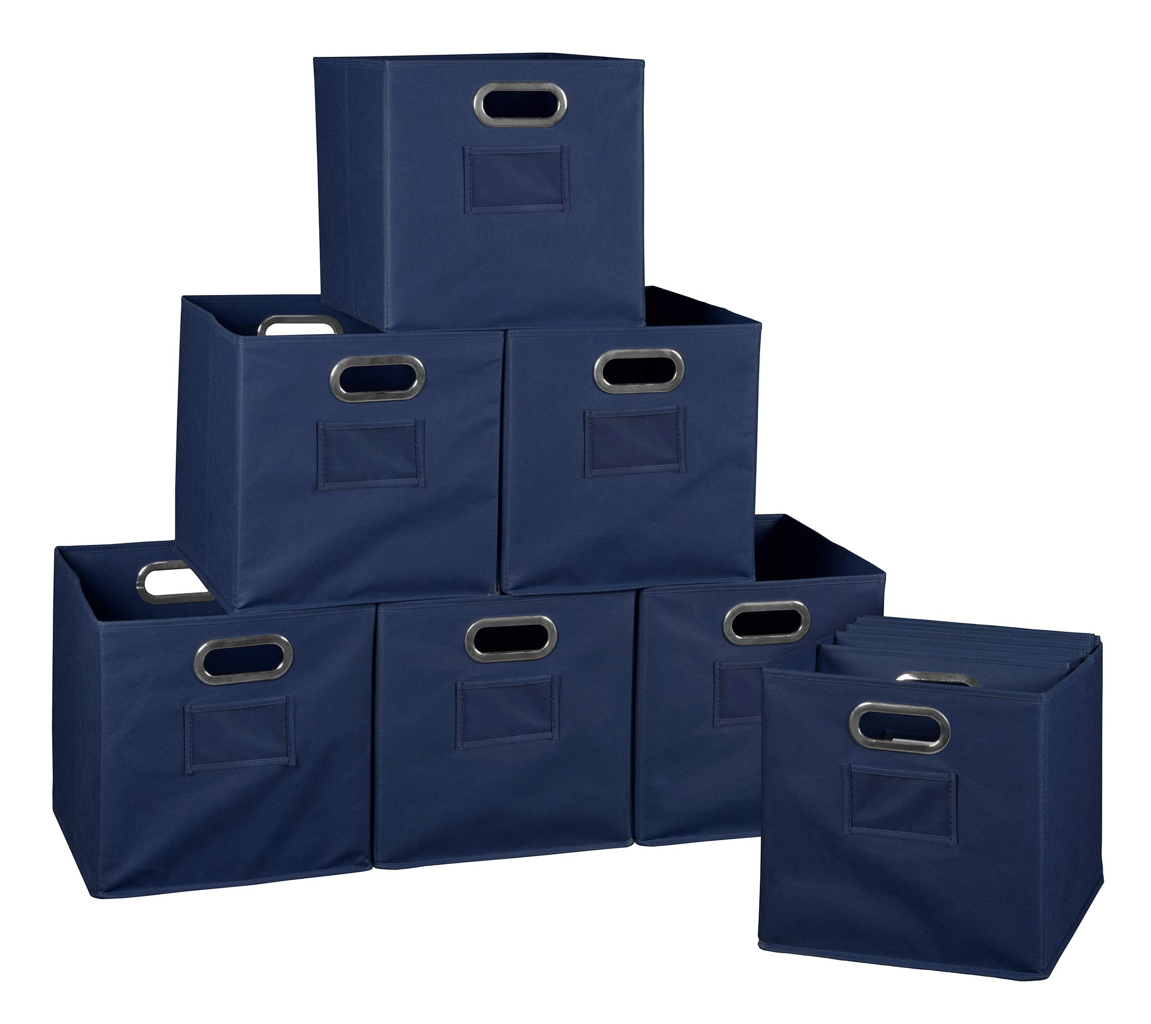 Niche A-FFCB12NV Cheer Home Foldable Fabric Bins Collapsible Cloth Cube Storage Basket, Set of 12, Navy Blue by Unknown
