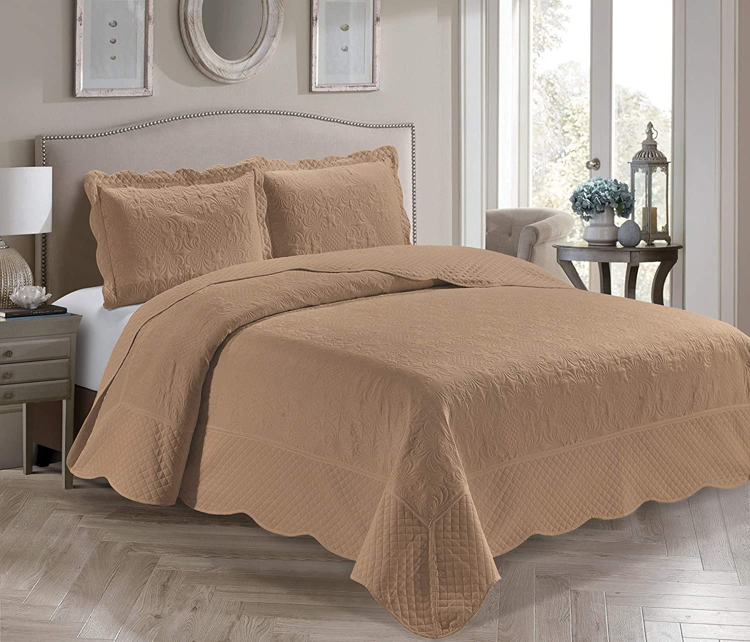 Home Collection 3 Piece King/California King Over Size Embossed Solid Taupe Color Coverlet Bedspread New # Veronica