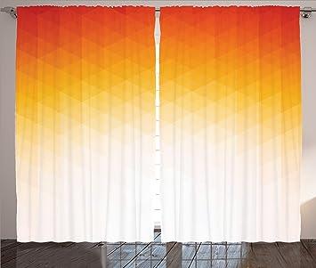 Amazon.com: Orange Curtains Geometric Decor by Ambesonne, Ombre ...