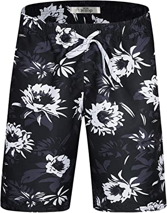 Smeiling Mens Swimming Trunks Drawstring Printing Stylish Cool Dry Beach Shorts