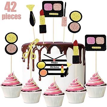 42 Piezas Topper de Magdalena de Maquillaje Toppers de Pastel de Cosméticos de Purpurina Decoración de Postre para Suministros Decoración de Pastel de ...