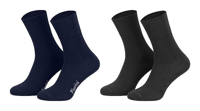 Piarini - 8 pares de calcetines unisex - Sin elástico - Caña cómoda - Antracita y