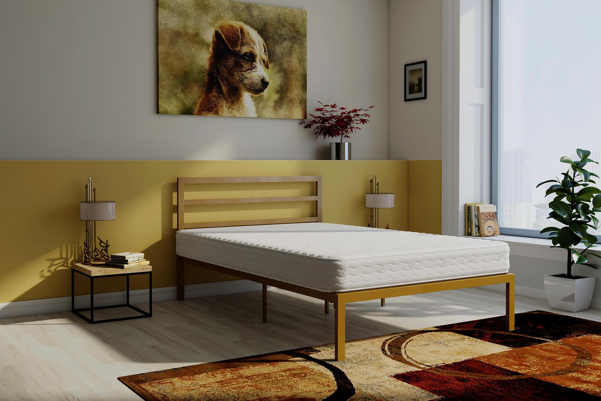 Signature Sleep Contour 8-Inch Reversible Independently Encased Coil Mattress & Premium Modern Platform Full Gold Bed with Headboard Set by Signature Sleep