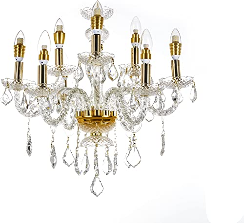 Top Lighting 9-Light Gold Finish Crystal Chandelier Pendant Ceiling Light Clear European Crystal, 22 wide