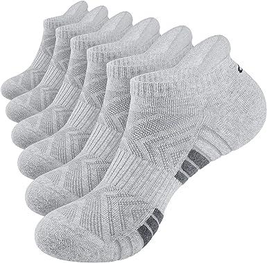 6 Paar anqier Sneaker Socken Herren Damen Gepolsterte Kurze Socken Baumwolle Rutschfest Sportsocken Running-Socken Low Cut Laufsocken