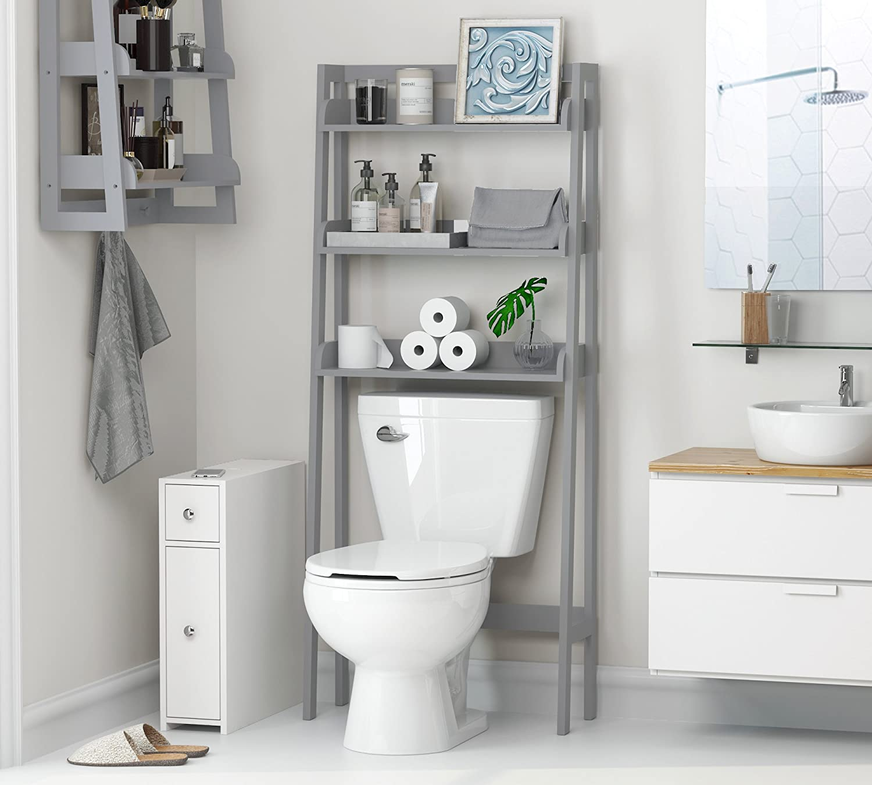 Bathroom Spacesaver UTEX 3-Shelf Bathroom Organizer Over The Toilet White Finish