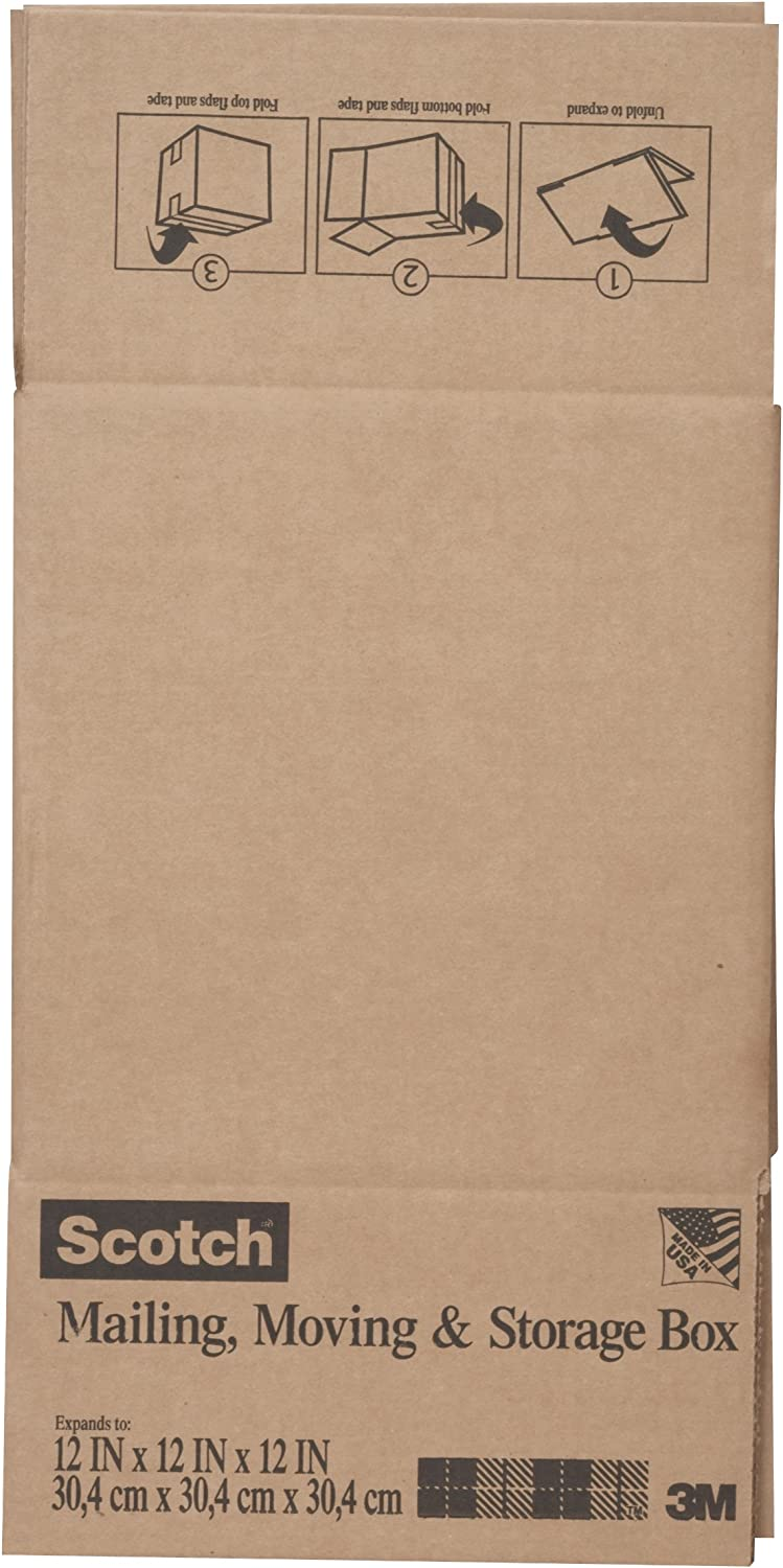 Moving 12 Inches x 12 Inches x 12 Inches 6-Pack and Storage Box Scotch Mailing 8012FB Folded Box