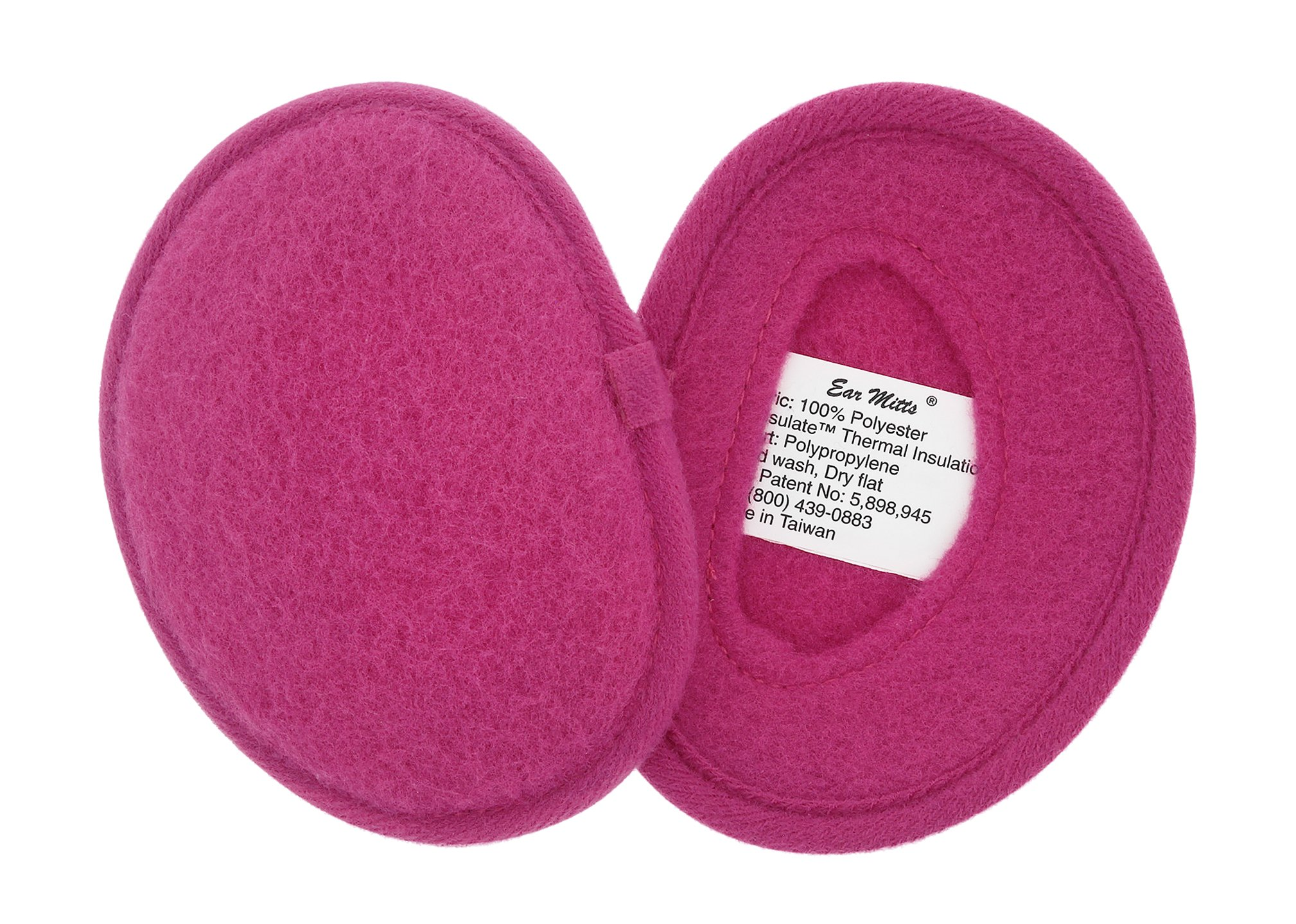 Ear Mitts Bandless Ear Muffs For Women, Bright Pink Fleece Ear Warmers, Regular