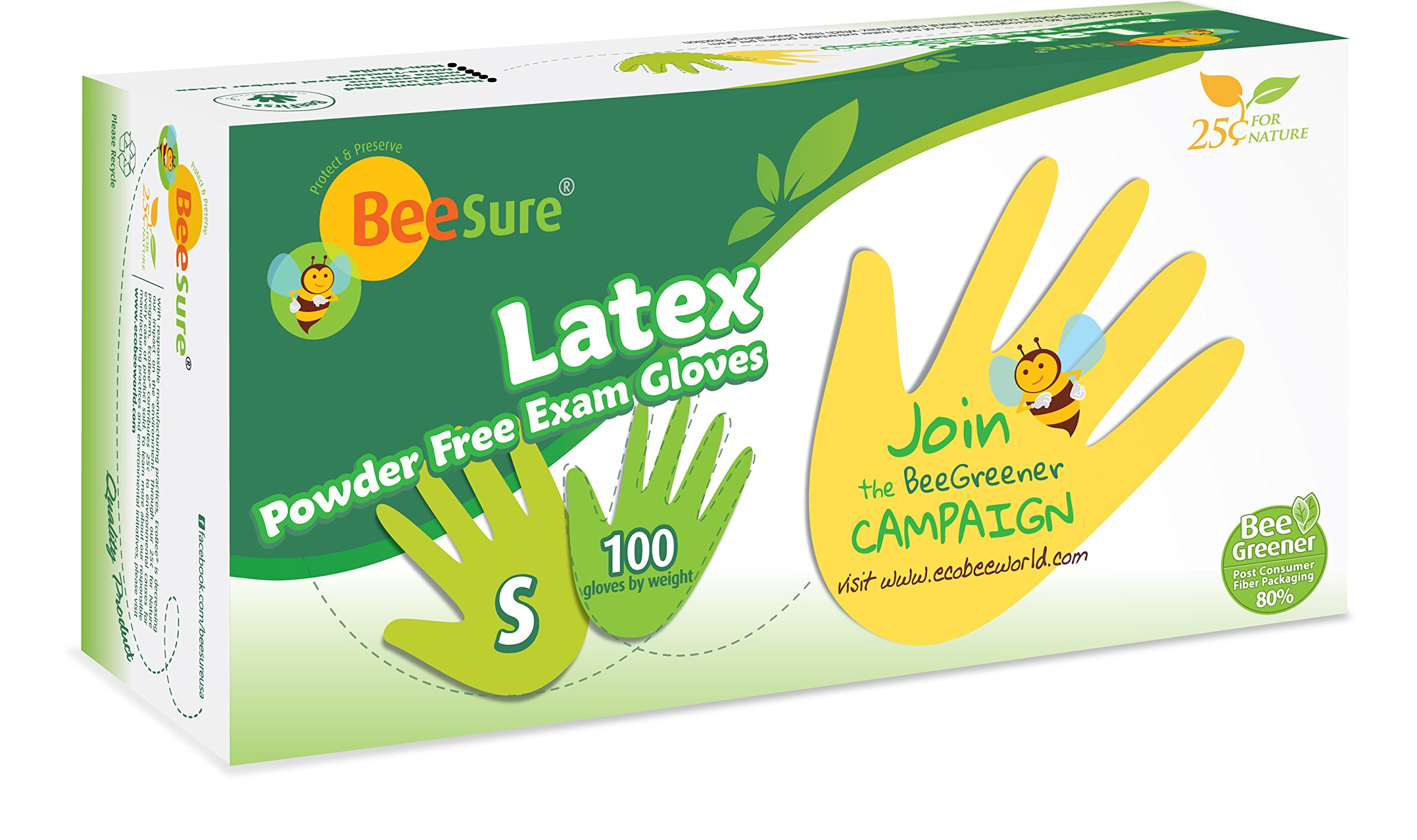 BeeSure BE2816case Powder Free Exam Gloves, Latex, Beaded-Cuff, Small, Yellow (Pack of 1000)