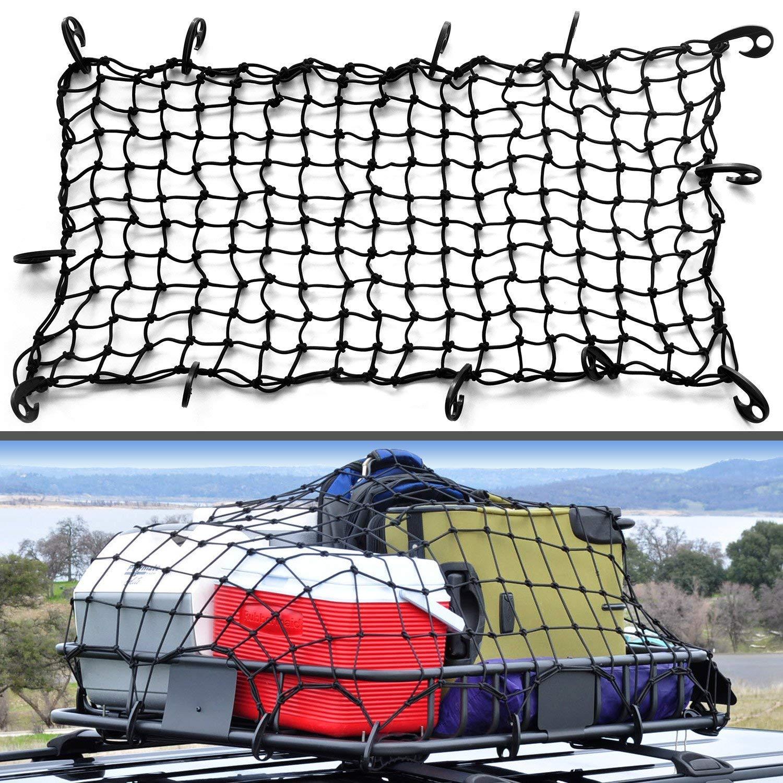 EEIEER 122 x 0,9 m Cargo Net Pesante Rete per Camion, Bungee Trunk Net con 10 Ganci moschettoni per motociclette, Moto, Camion, organizzatori di Piccole Dimensioni 3' x3 Mesh organizzatori di Piccole Dimensioni 3 x3 Mesh Cargo Net-187