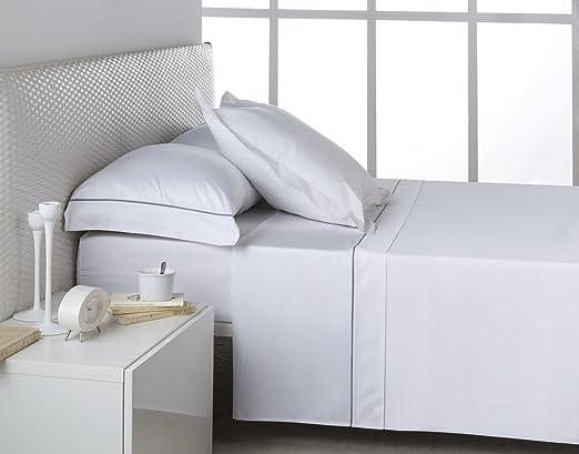 ES-Tela - Juego de sábanas de satén Lisos BIÉS Color Blanco-Acero ...
