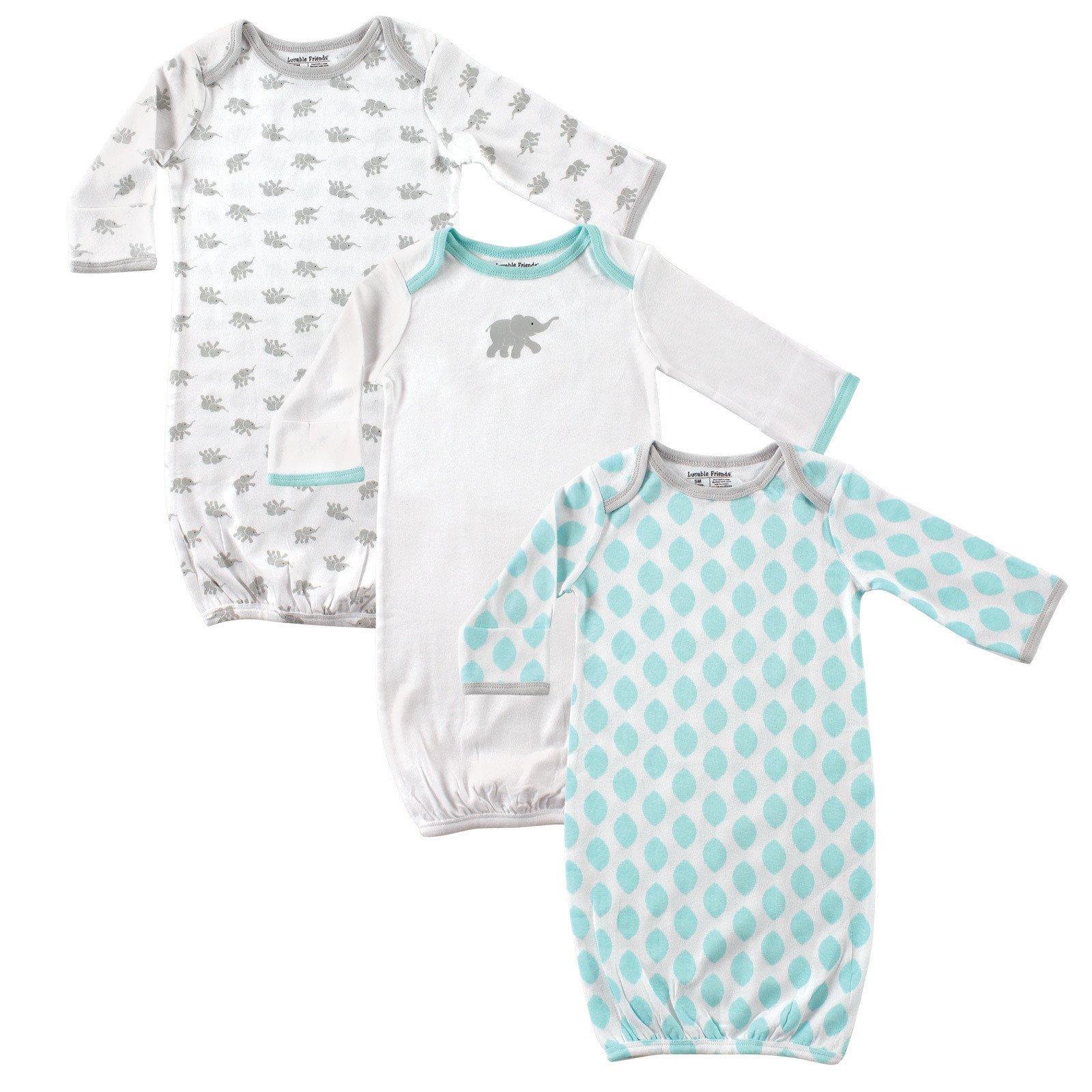 Luvable Friends Unisex 3 Pack Cotton Gown, Mint/Grey Elephant, 0-6 Months