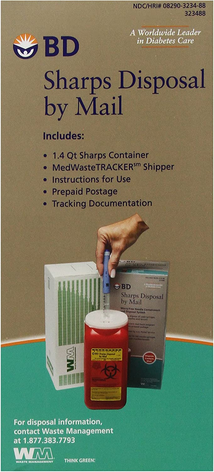 BD Sharps Disposal by Mail Worry free Needle Disposal: Health & Personal Care