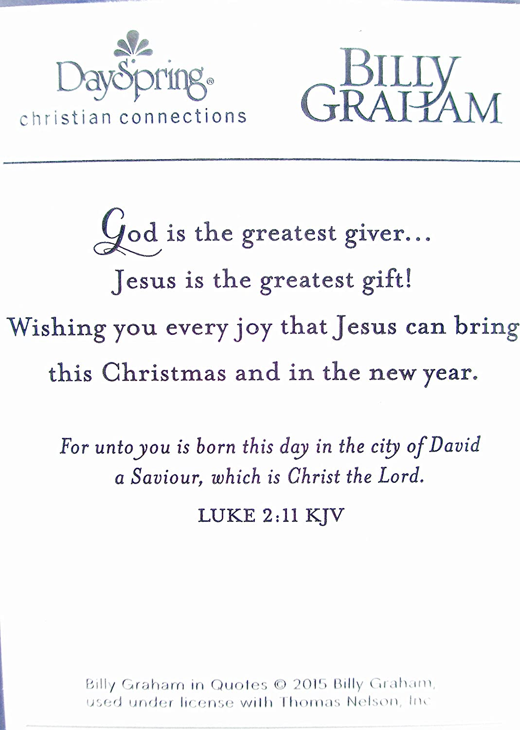 Amazon.com : Christian Christmas Greeting Cards, Bible Quotes, Billy ...