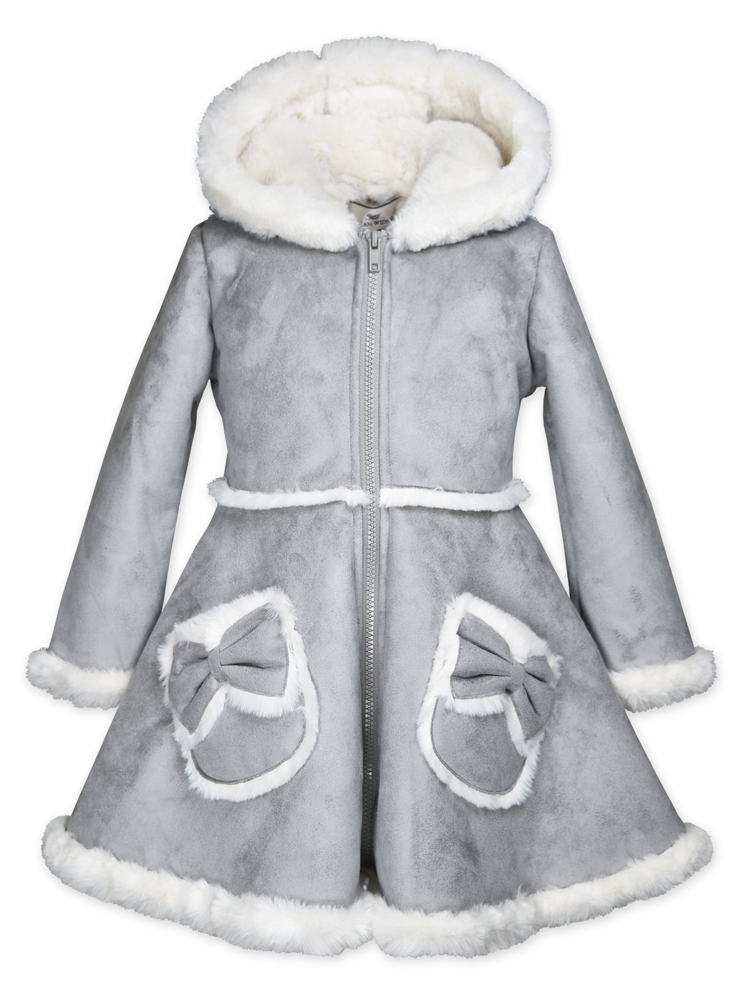 Widgeon Big Girls' Bow Pocket Hooded Faux Suede Coat 3726, Fsy/Grey Faux Suede, 7