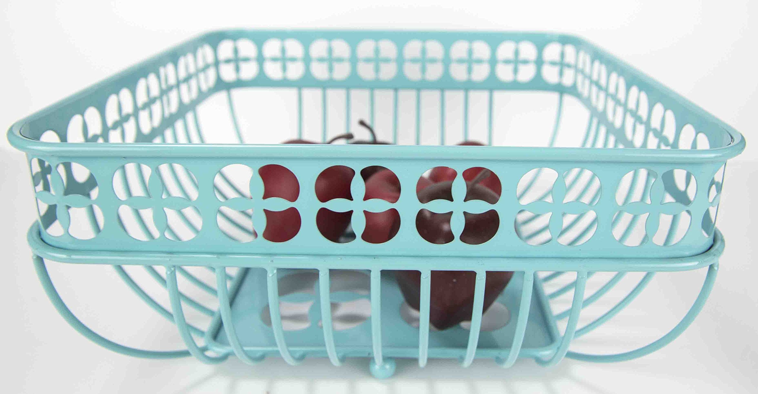 Home Basics Trinity Fruit Basket Square, Turquoise by Home Basics (Image #1)