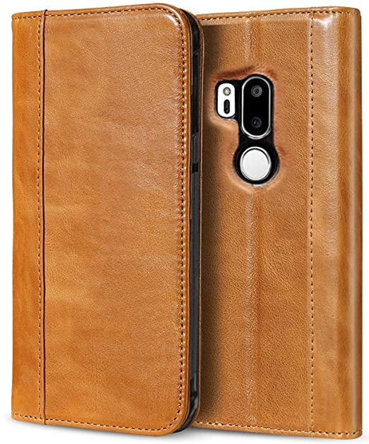sale retailer cfe08 b3813 ProCase LG G7 Leather Wallet Case, LG G7 ThinQ Genuine Leather Case,  Vintage Folding Folio Case with Kickstand Card Holders Magnetic Closure,  Leather ...