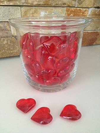 Amazon 48 Acrylic Red Hearts 23mm For Wedding Decoration Table
