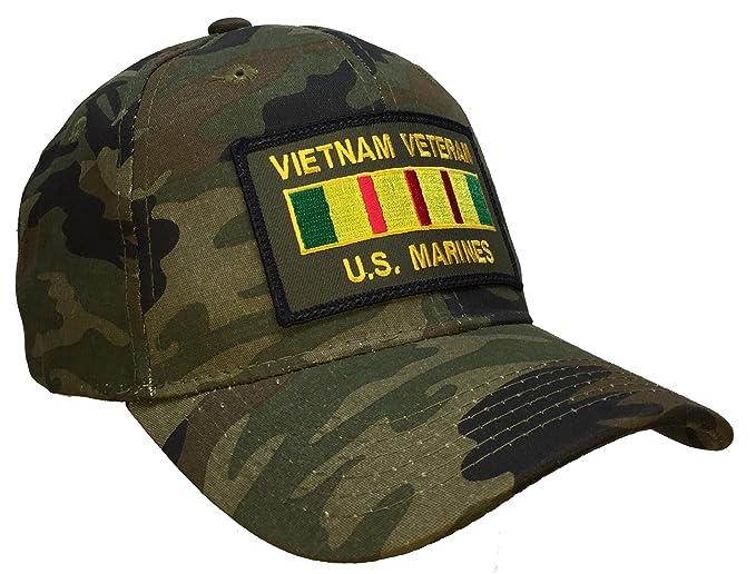 Amazon.com  Vietnam Veteran Hat US Marines CAMO Ball Cap Vietnam ... d0a5e6a4fa6