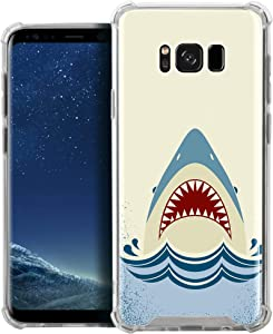 CasesOnDeck Case Compatible with [Samsung Galaxy S8+ / S8 Plus][MAX Clarity], Slim Precise Fit TPU Case, Scratch Protection and Unique Design (Shark Attack)
