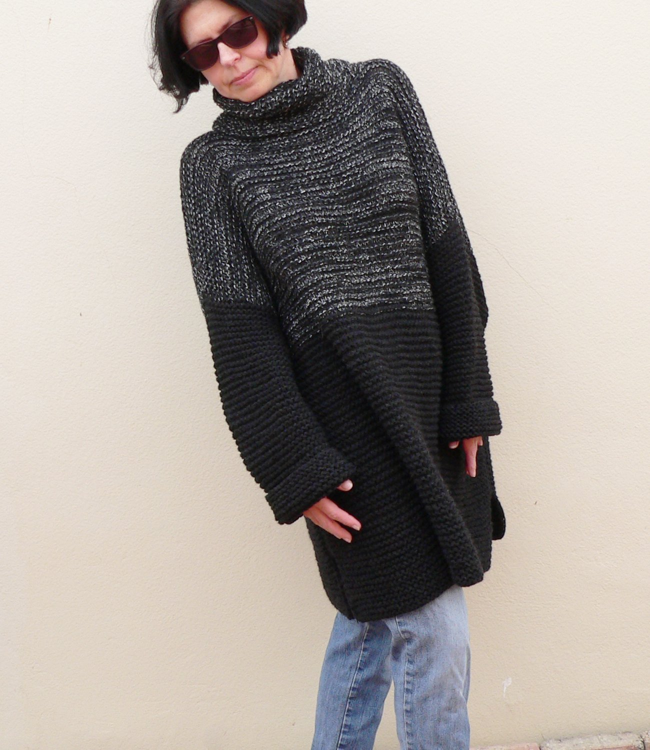 Black Gray Grunge Sweater Bulky Chunky Oversize Heavy Thick Jumper Alpaca Wool Cozy Slouchy Plus Size Loose Fit HandKnit Pullover