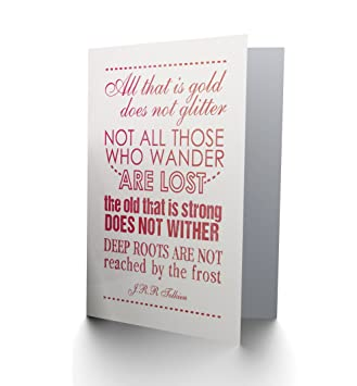 TOLKIEN QUOTE LORD OF THE RINGS NOT ALL WHO WANDER BLANK BIRTHDAY