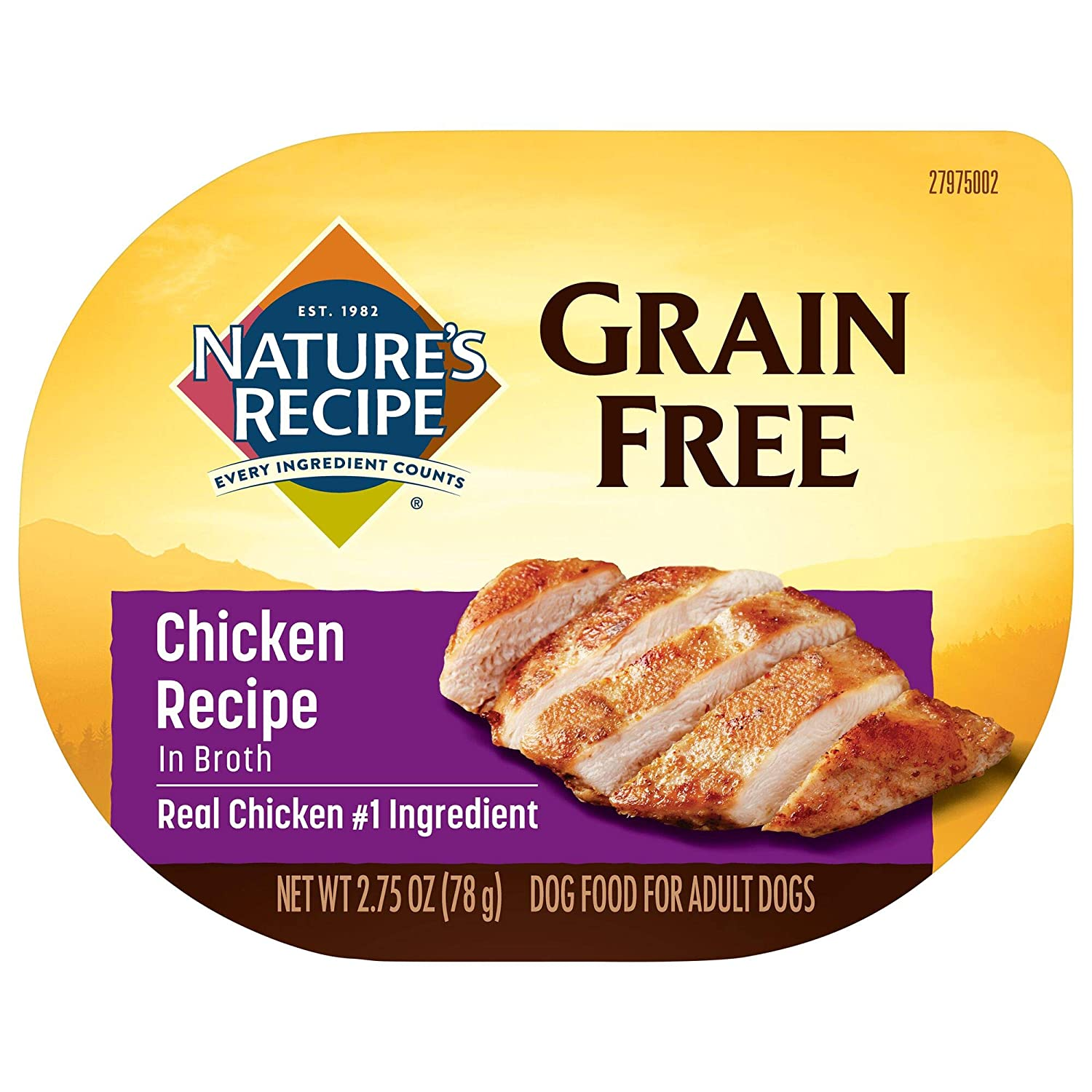 Nature's Recipe Grain Free Wet Dog Food, Chicken in Broth Recipe, 2.75 Ounce Cup (Pack of 12), Easy to Digest