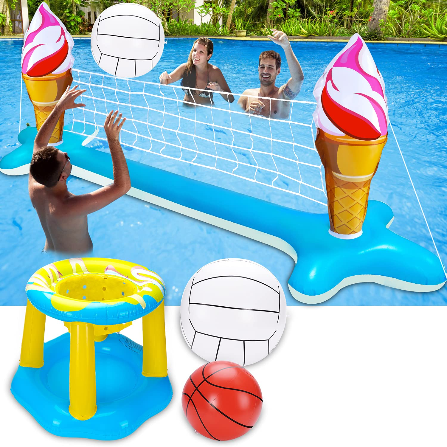 Inflatable Pool Volleyball Net Set Basketball Hoop with 2 Balls Large Size
