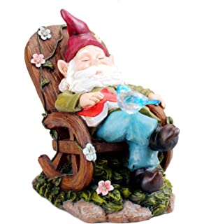Solar Powered Gnome Sleeping In A Chair LED Garden Light Decor