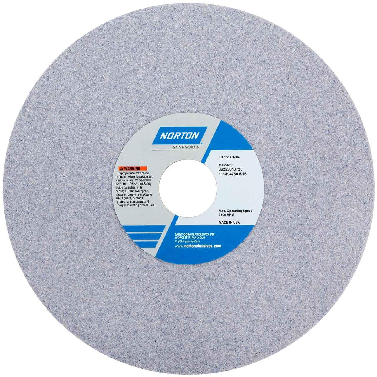 Norton 32A46-JVBE Type 01 Vitrified Straight Toolroom Grinding Wheel, Aluminum Oxide, 8'' Diameter x 1/2'' Width, 1-1/4'' Arbor, 46 Grit, Grade J, Purple (Pack of 1)