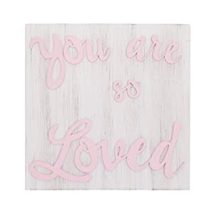 NoJo You are So Loved Pink & White Square Wood Nursery Wall Decor, Pink, White
