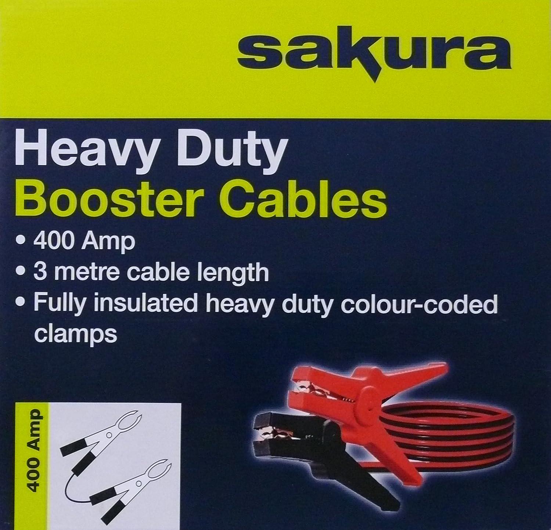 Sakura SS3626 Heavy Duty Booster Cables 400 Amp 3 metres