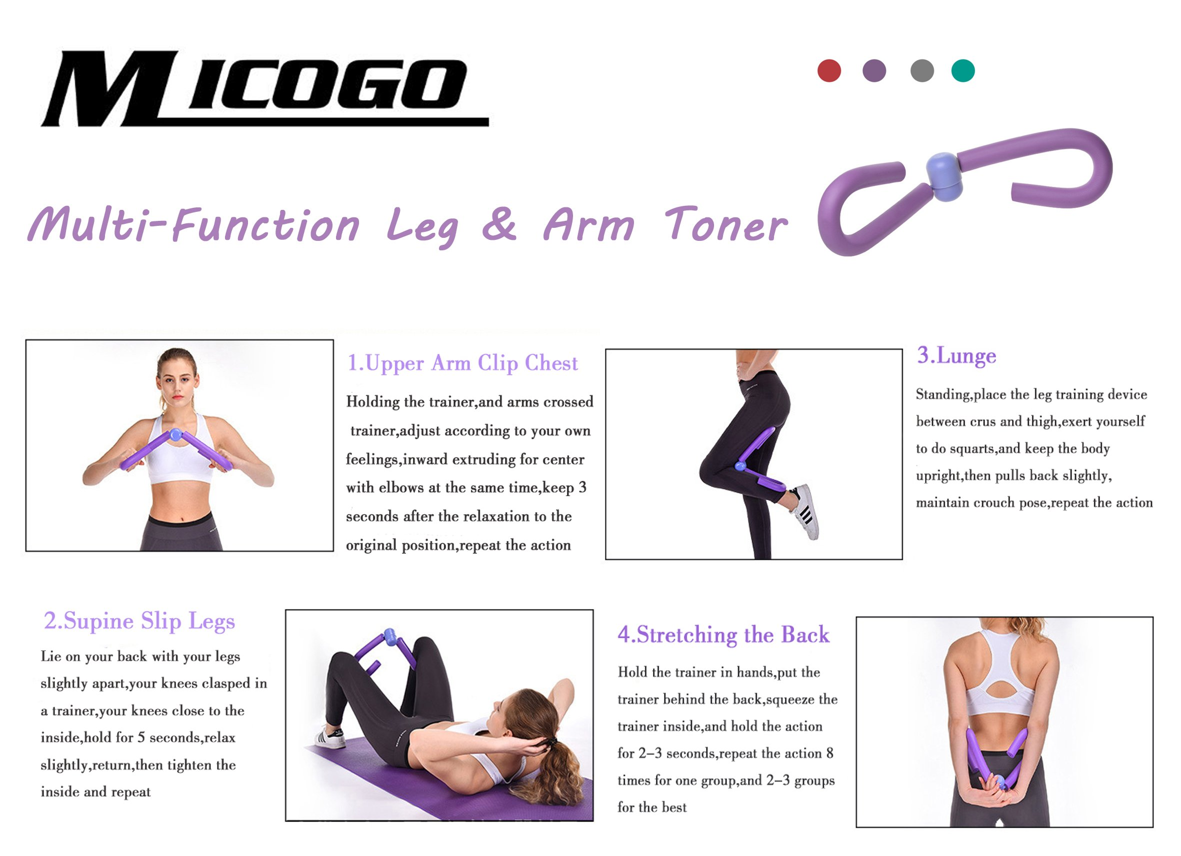 Micogo Thigh Toner & Butt,Leg,Arm Toner Thigh Trimmer Leg Exerciser Thigh Master Home Gym Equipment (Purple)