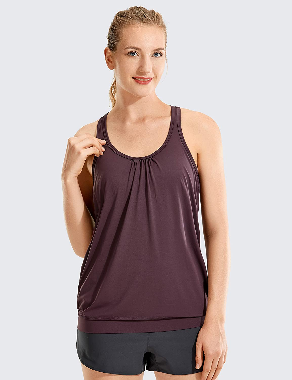 TAKIYA Womens Yoga Tank Sports Bra Workout Fitness Running Racerback Crop Top I-Back Vest Slim Fit Camisole