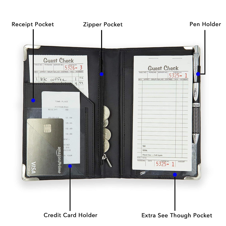 2019 Server Books Check Book//Pad//Presenters//Holder//Pocket for Servers Great for Server Apron Waiter Book Restaurants Book Holder - Organizer Waiter//Waitress Pads Black Leather Server Book