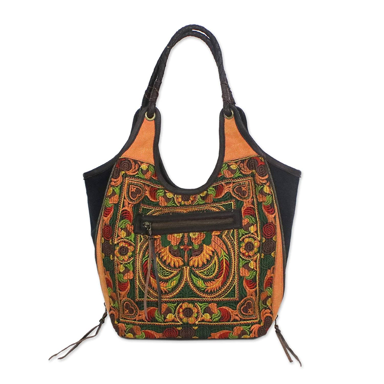 5822f3a7e7 NOVICA Orange and Green Embroidered Shoulder Bag with Leather Accents