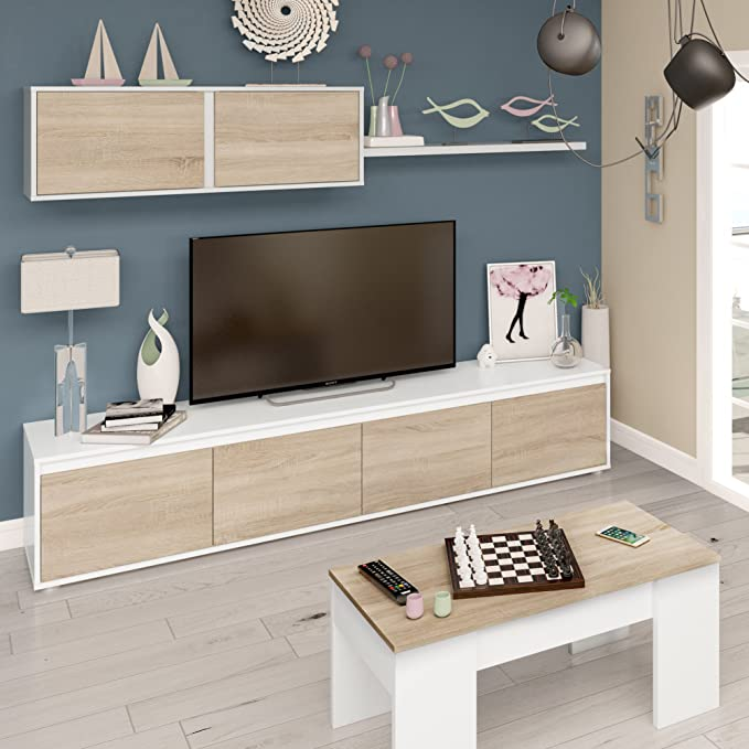 Habitdesign 0F6663A - Mueble de salón Moderno, modulos Comedor ...