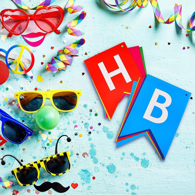 Banner de Happy Birthday con Cadena de Luces LED y 4 Ganchos Autoadhesivos Guirnalda de Banderines de Cumplea/ños con Luces Funciona con Pilas para Decoraci/ón de Fiesta
