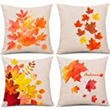Whaline 4 Pieces Autumn Pillow Case, Fall Maple Leaves Pillow Cover, Fall Pillows Decorative Throw Pillows, Thanksgiving…