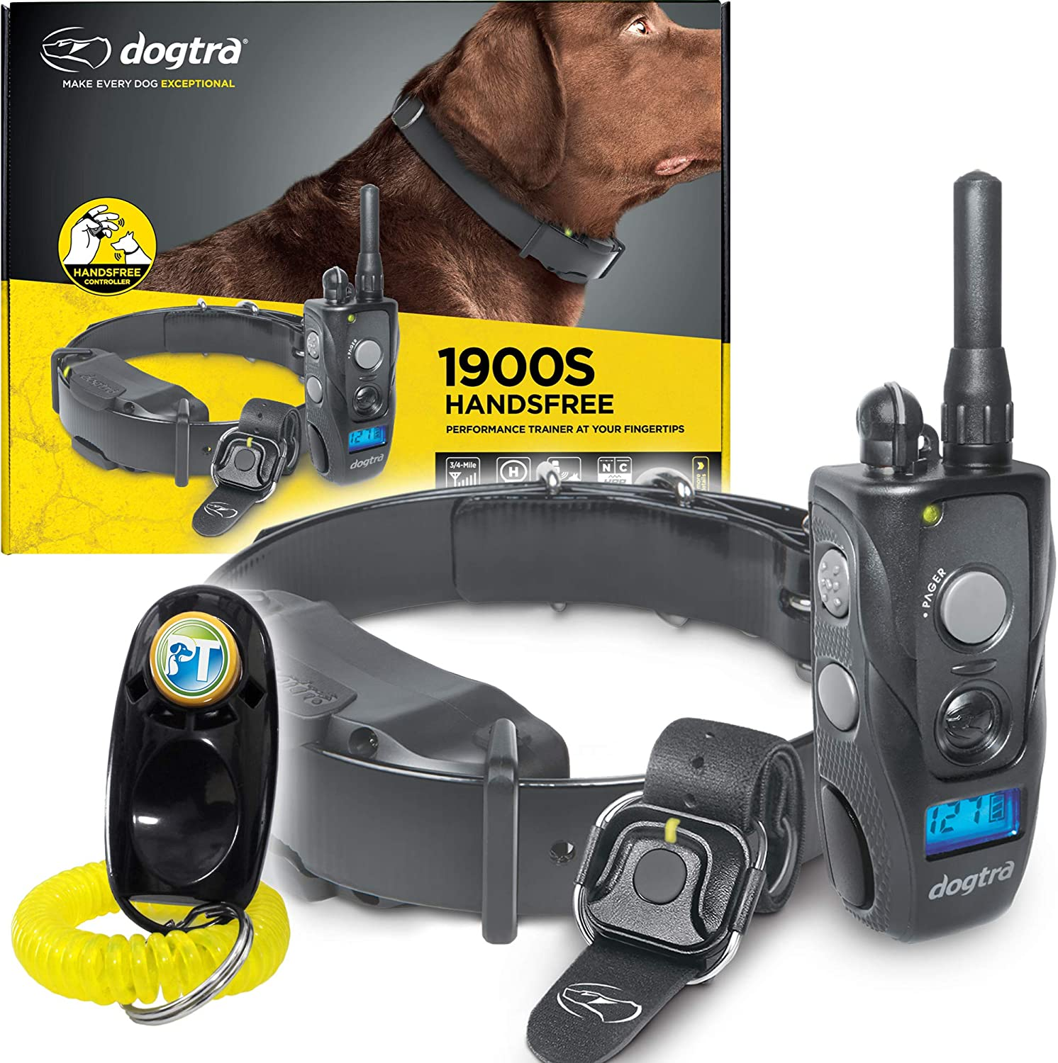 Dogtra 1900S HANDSFREE Remote Training Collar – 3 4 Mile Range, Waterproof, Rechargeable, Shock, Vibration, Hands Free Remote Controller – Includes PetsTEK Dog Training Clicker