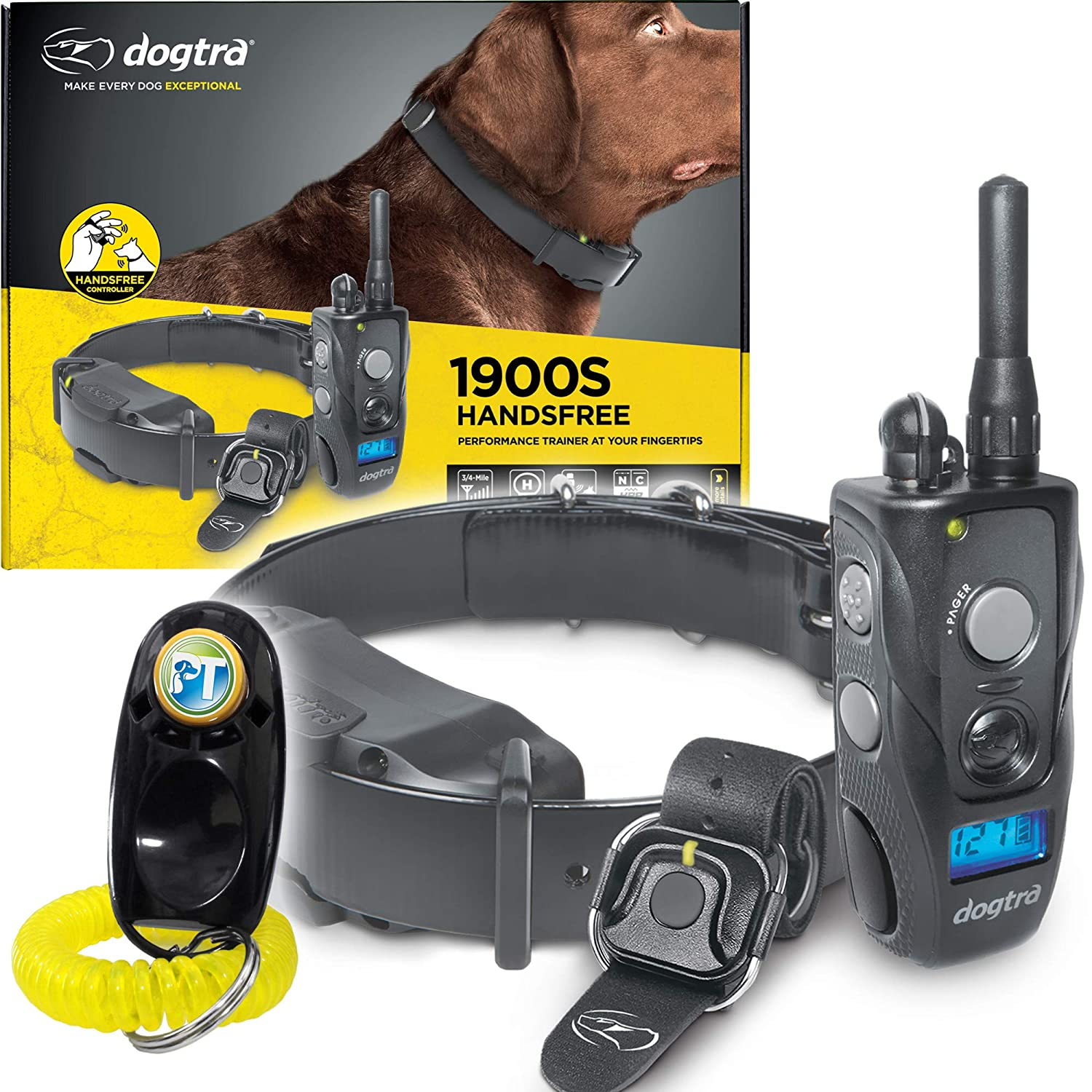 Dogtra 1900S HANDSFREE Remote Training Collar 3 4 Mile Range, Waterproof, Rechargeable, Shock, Vibration, Hands Free Remote Controller Includes PetsTEK Dog Training Clicker