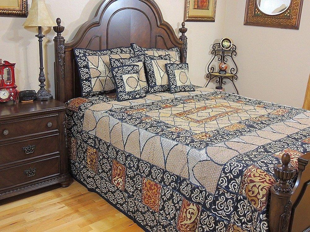 NovaHaat Handmade Bedroom Decorative Gold Black Duvet Bedspread Zari Embroidery 7p Sari Luxurious India Bedding Collection ~ King